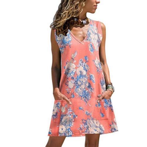 Sexy Sleeveless V-Neck Printing Dress