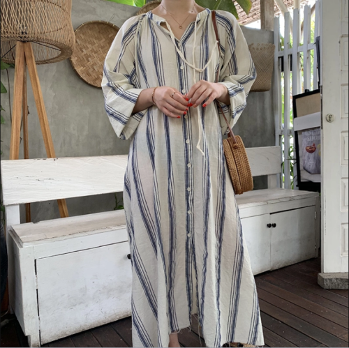 Sexy Stripes Contrasting Colors Short Sleeve Dress