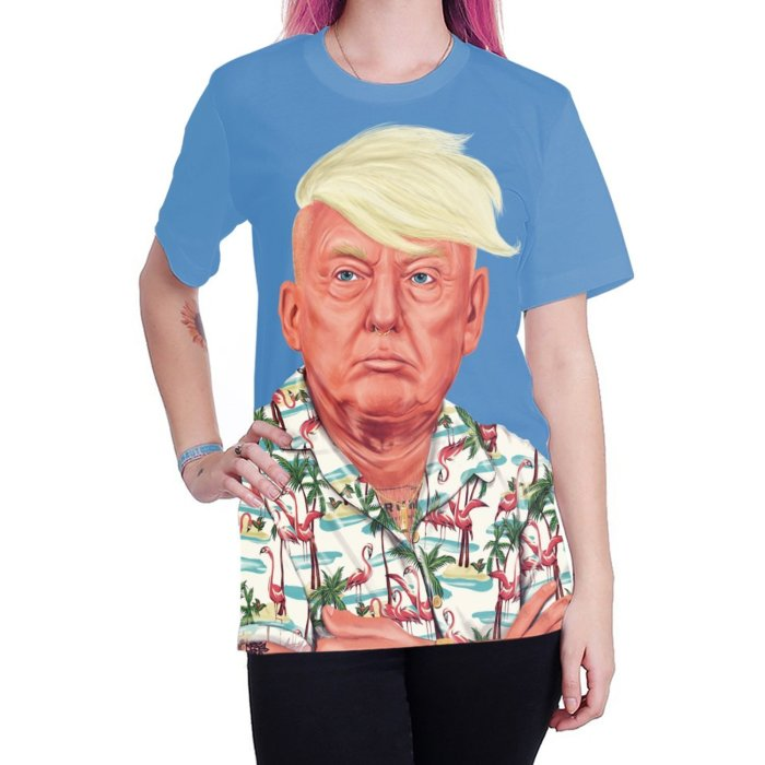 Trump Printed Round Neck Pullover Short Sleeve T-shirt