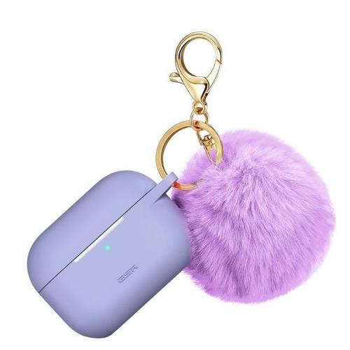 Ladies AirPods Pro Case Shockproof Cover With Plush Keychain