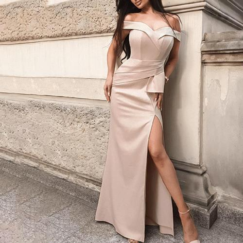Retro Off-the-shoulder Asymmetry Evening Dress