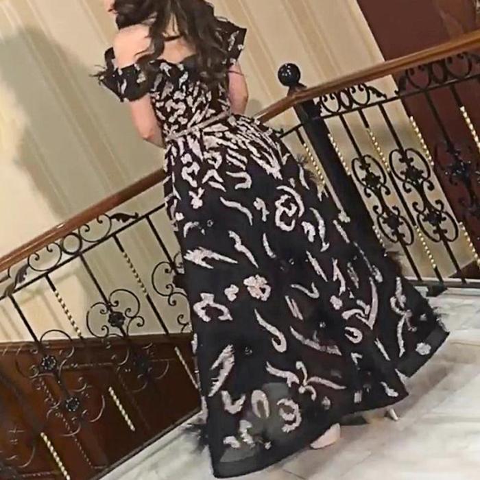 Fashion Sexy Elegant Pattern Decorated Big Swing Evening Dress