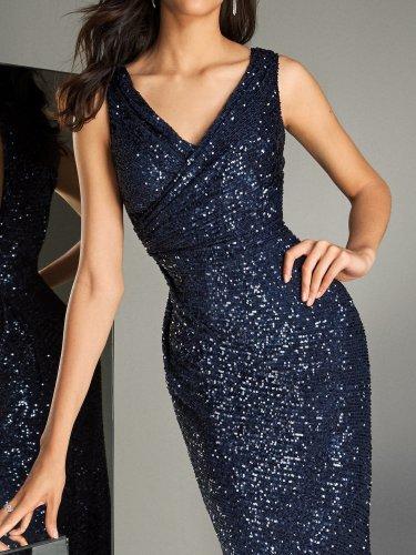 Sexy v-neck halter bright silk blue evening dress