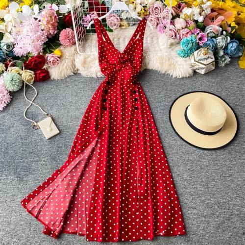 JOYMANMALL Women Strap Long Dress Summer Sexy Deep V Backless Split Polka Dot Dress French Bohemian Romantic Holiday Beach Sundres
