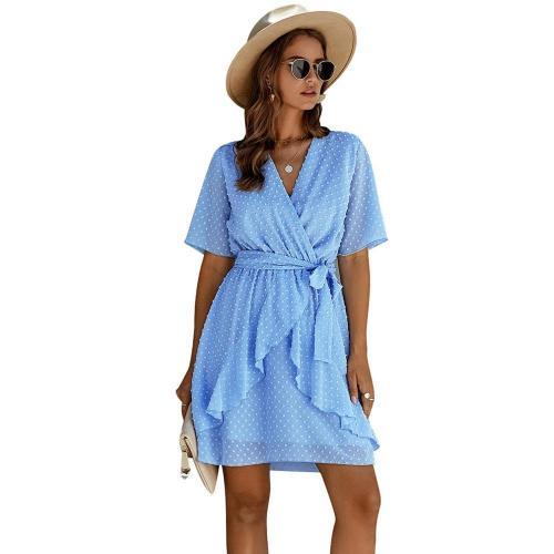 Ladies Polka Dot Mini Dress Women Summer Beach Dress Sexy Mesh Ruffle Elegant Party Dress Female Sashes Women Sundress Vestidos