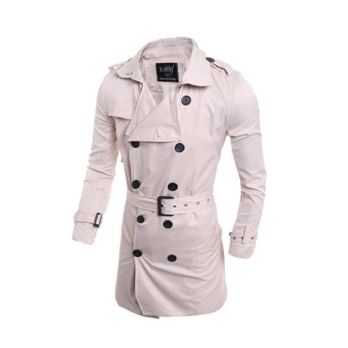 Elegant Plain Lapel Collar Button Slim Long Windbreaker Coat