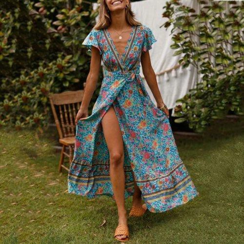 Bohemian Big Pendulum V-Neck Beach Holiday Tie Printing Evening Dress
