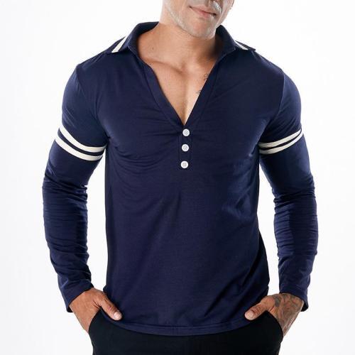 Men's Solid Color Deep V-Neck Long Sleeve T-Shirt