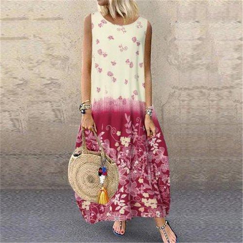 Fashion Loose Plus Size Women Casual Print Floral Oversized Beach Maxi Dresses