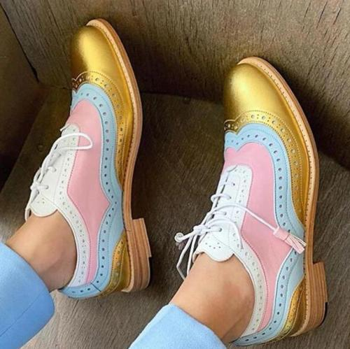 2020 women flats lace-up Sweet style Girl shoes mixed colors round toe  zapatos de mujer  shose women  w03-1