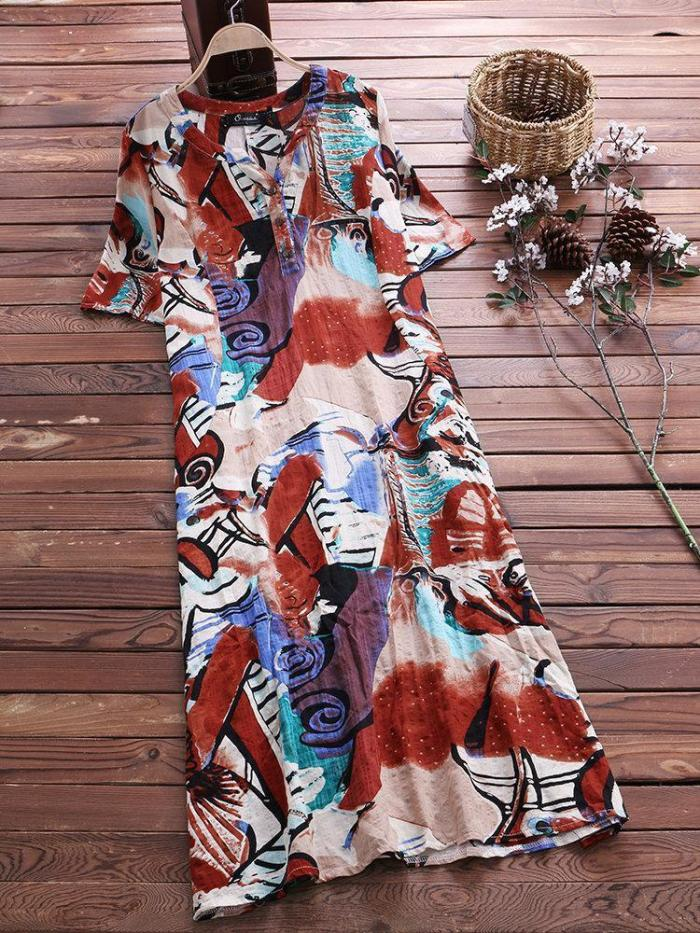 Vintage Print Short Sleeve Plus Size Maxi Dress with Pockets