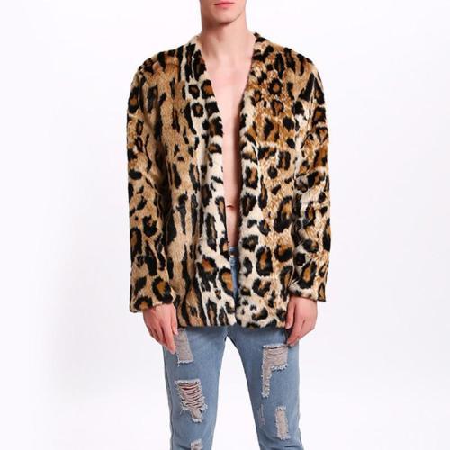 Men's Leopard Print Faux Fur Suit Collar Warm Jacket