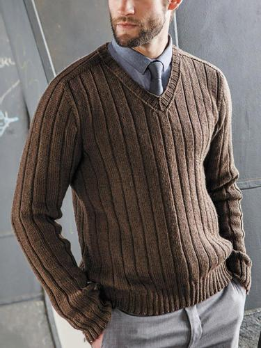 Classic V Neck Pure Color Long Sleeve Sweater