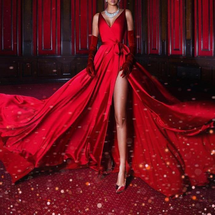 Elegant Sling Solid Color Sleeveless Slit Dress