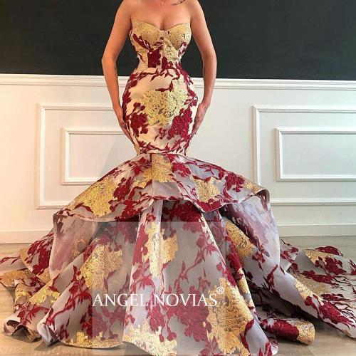 Long Gold Mermaid Arabic Evening Dress 2020 Organza Abendkleider Moroccan Sexy Formal Prom Gowns