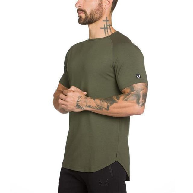 Men's Bodybuilding Letter Printed Cotton T-Shirt