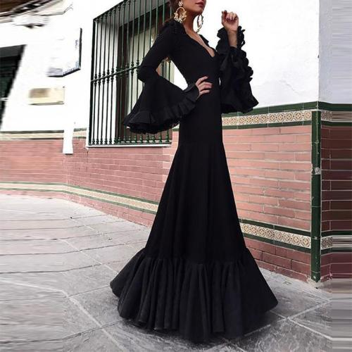 Sexy V-neck black ruffled trumpet sleeve dress