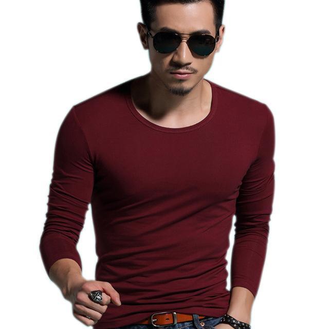 Men's O-neck Slim Long Sleeve Pullover T-Shirt