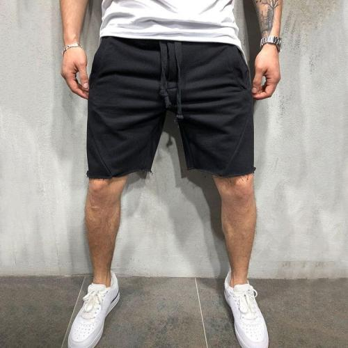Men Shorts Wild Style Solid Color Ripped Short Pants Jogger Workout Shorts Men
