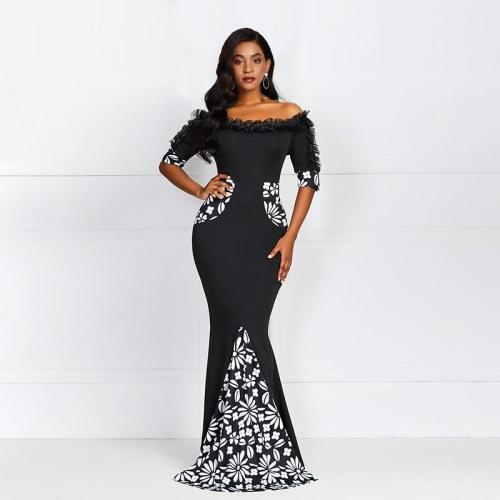 Black Off The Shoulder Evening Dress Sexy Mermaid Fashion Half Sleeves Prom Evening Ladies Elegant Party Evening Dresses