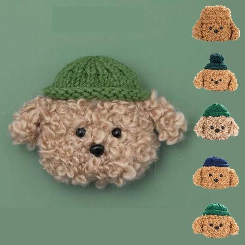 Winter Warm Teddy Bear Plush AirPod Case Cover With Hat