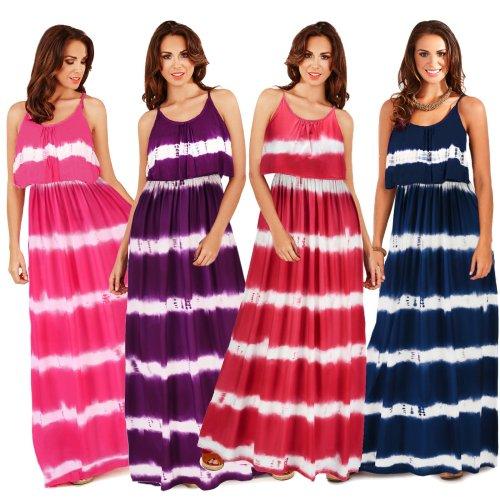 Striped Print Summer Woman Dresses Spaghetti Strap Pleated  Sleeveless O-Neck High Waist Floor-Length Casual Boho Beach Dress