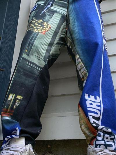 Colored printed casual loose mens pants TT010