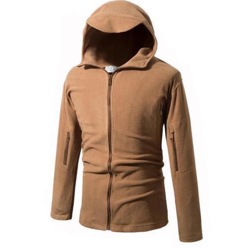Fashion Plain Polar Fleece Outdoor Zipper Hoodie