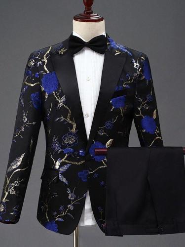 Pants One Button Floral Dress Suit