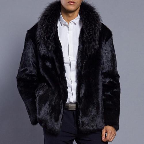 Men's Green Fruit Collar Faux Fur Coat Black