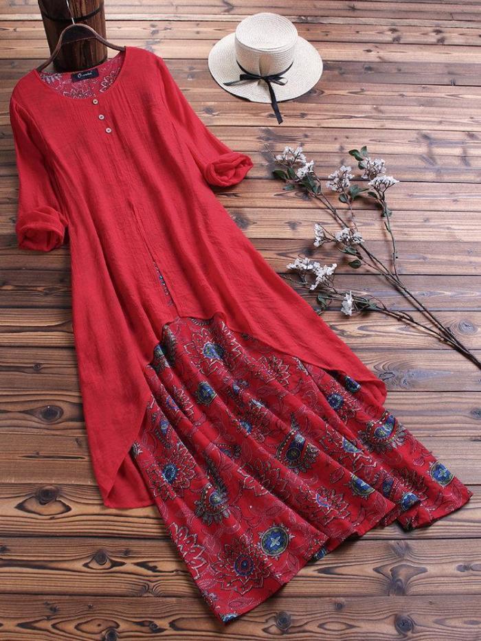 Vintage Print Patchwork Pokcet Long Sleeve Plus Size Maxi Dress