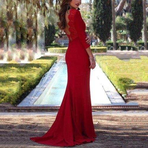 Sexy Red Long Sleeves Evening Dress Maxi Dress