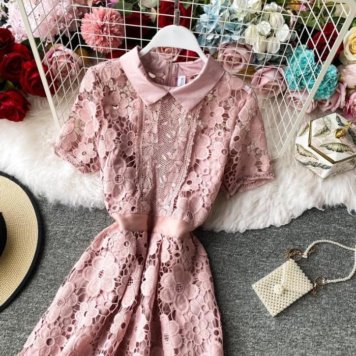 JOYMANMALL Women Sexy Hollow Lace Dress Vintage Elegant Short Sleeve A-line Office Dress Summer French Streetwear Midi Dress