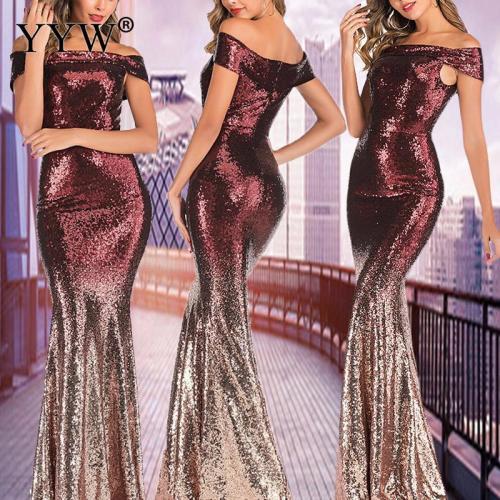 Off Shoulder Sequin Evening Dresses Women Gradient Shining Mermaid Party Gowns Sexy Robe Luxury Elegant Women Long Formal Dress