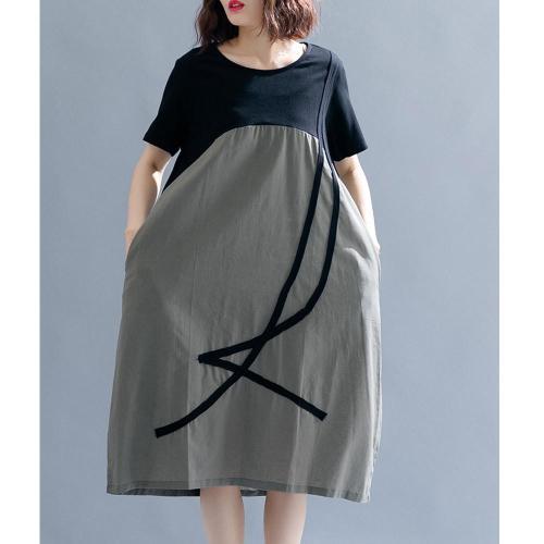 Supermiss Women Plus Size Dresses Cocktail Patchwork Colorblock Tunic Casual Summer 2020 Elegant Loose Long Dresses Vestidos 5XL