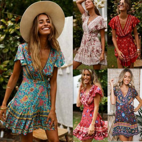 Drop shipping Women Vintage Short Sleeve Print Dress V neck Short Sleeve Boho Floral Mini Dresses Female Summer Holiday Sundress