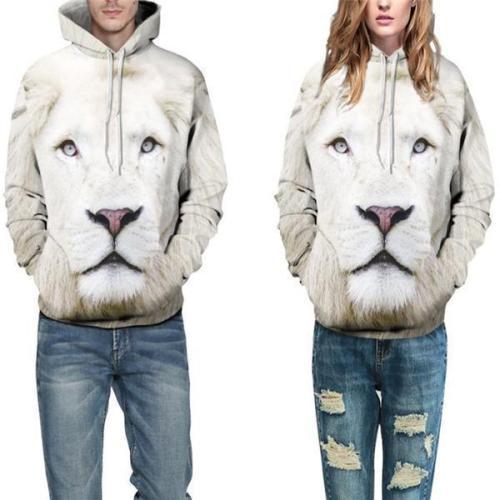 Casual Fashion Loose Print Long Sleeve Men Hoodie