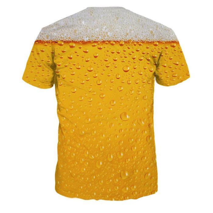 Beer Bubble Digital Print Short Sleeve Top
