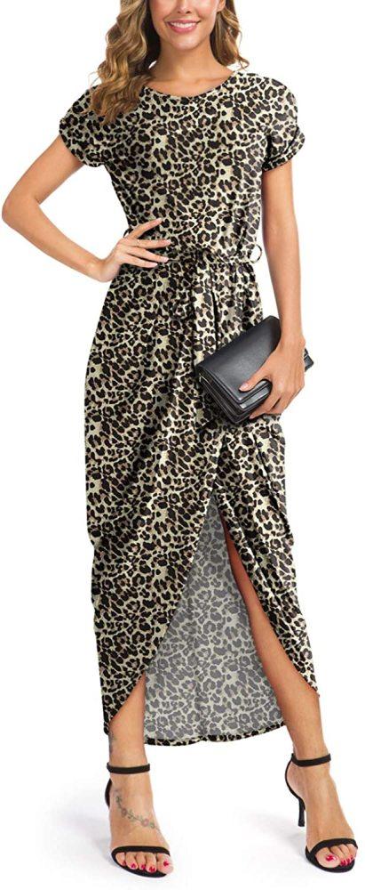 GRECERELLE Women's Short Sleeve Summer Dresses Elastic Waist Slit Casual Long Maxi Dress with Belt