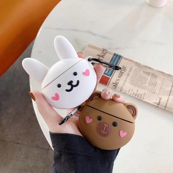Kawaii Rabbit AirPods Pro Case 3D Silicone Shockproof Cover