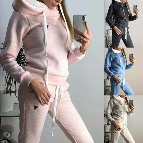 Winter Women Tracksuits Sports Suits Plus Velvet Hoodies Sweatshirts Pants Running Set Fleece Sportswear Warm Thicken Clothing