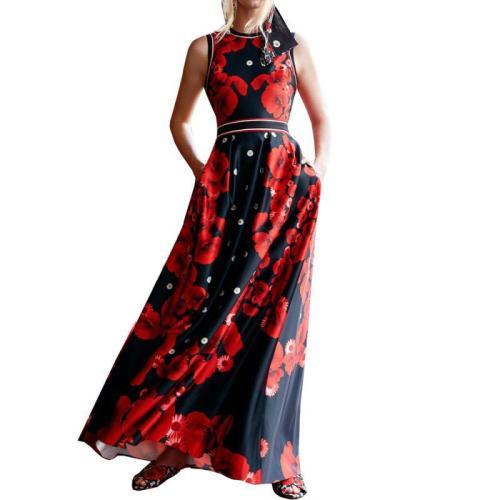 Sleeveless Printed Bohemia Dresses Sexy Long Print Floral Maxi Dress