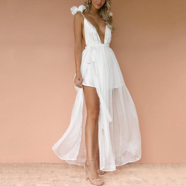 Women's Solid Color Sexy V-Neck Halter Sling Dress