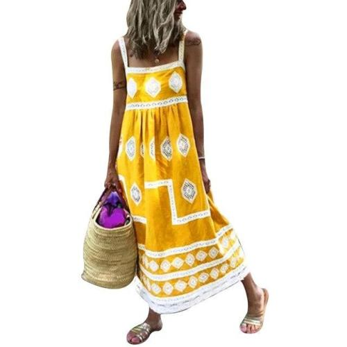 2020 Summer Dresses Women Vintage Sleeveless Floral Printed Long Dress casual Sundress plus size dress Beach dresses