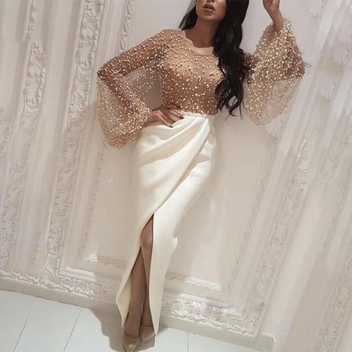 Mesh Beaded Stitching Long Sleeve Dress