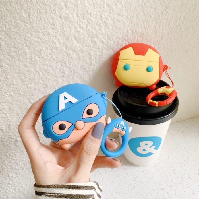 3D Captain America AirPods Pro Case Shock Proof Superhero Cover