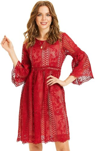 SONJA BETRO Women's Lace 3/4 Bell Sleeve Empire Waist Knee Length Party Dress