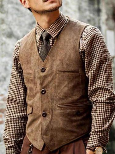 Mens classic retro solid color button vest