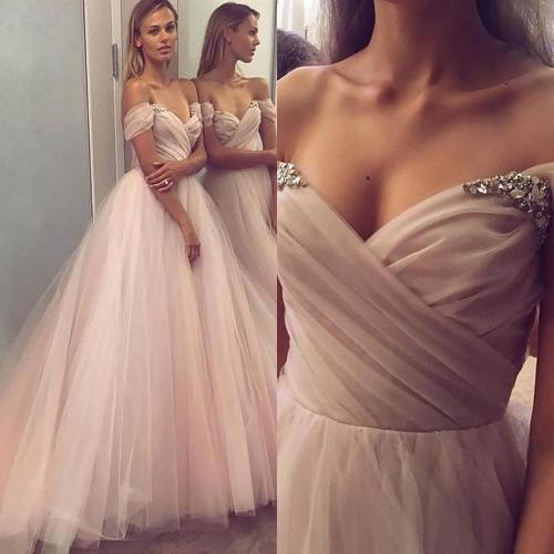 Graceful Tulle Princess Evening Dress Boat Neck Off The Shoulder Long Formal Dresses 2020 High Quality Special Occasion Gowns