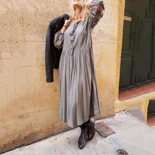 Vintage Bishop Sleeve Belted Stripe High-waist Dress
